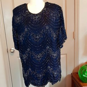 80s Adrianna Papell Occasions Silk beaded top Blue